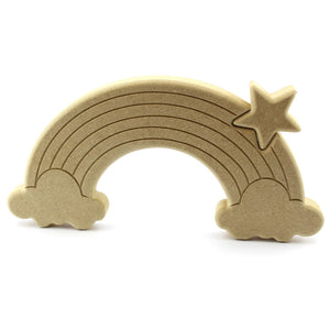 Engraved Wooden Rainbow with Clouds & Star Cutout Free Standing Decoration