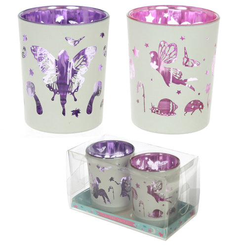 Set of 2 Fairy Garden Tealight Holders