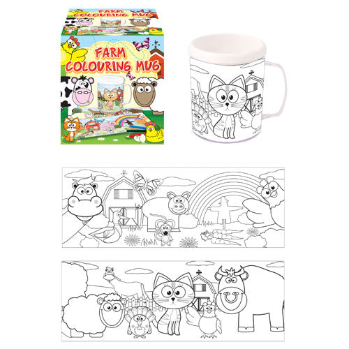 Childrens Colour Your Own Farm Animals (Plastic) Mug