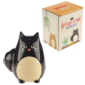 Feline Fine Black Cat Money Box