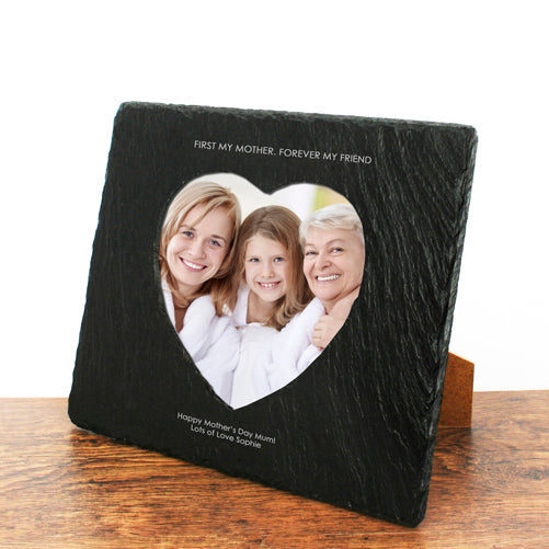Personalised 'First My Mother Forever My Friend' Heart Slate Photo Frame