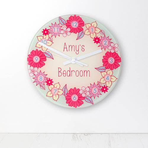 Flower Garland Personalised Glass Wall Clock