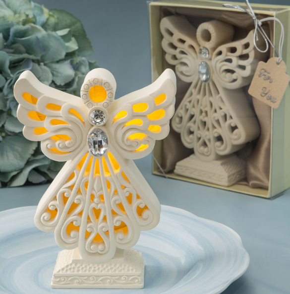 Glowing Ivory Colour Guardian Angel Statue with LED Light