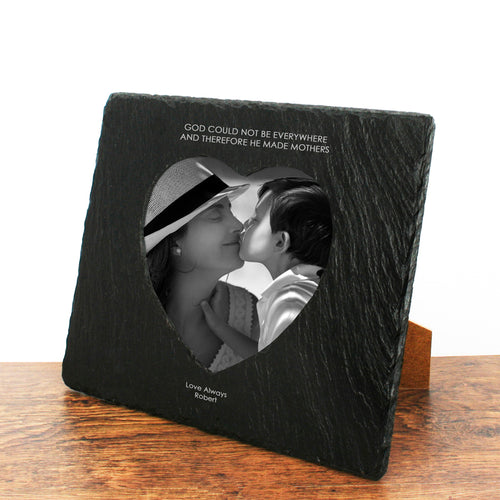 Personalised 'God Made Mothers' Heart Slate Photo Frame