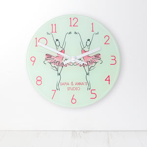Ballet Dancer Personalised Glass Wall Clock