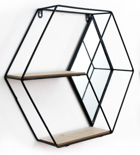 Hexagon Wall Unit With Mirror and 2 Shelves