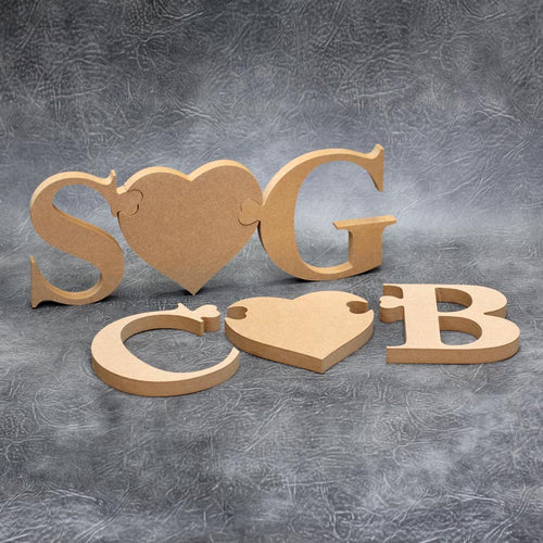 Customisable Wooden Jigsaw Heart Initials