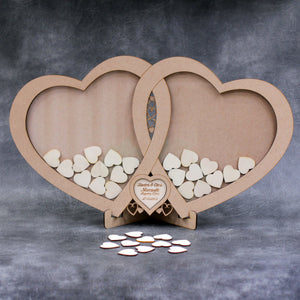 Personalised and Customisable Wooden Linked Hearts Wedding Drop Box