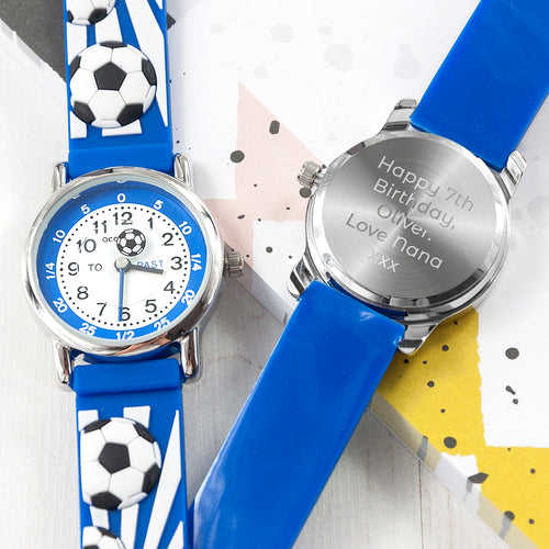 Childrens Personalised Blue Football Watch