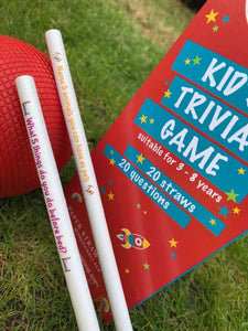 Kids (Children) Trivia Paper Straws - Box of 20 Straws