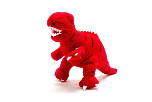 Knitted Dinosaur Baby Rattle - Red T-Rex