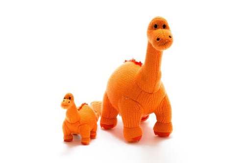 Knitted Orange Dinosaur (Diplodocus) Toy
