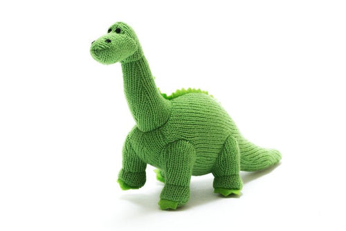 Knitted Green Dinosaur (Diplodocus) Toy