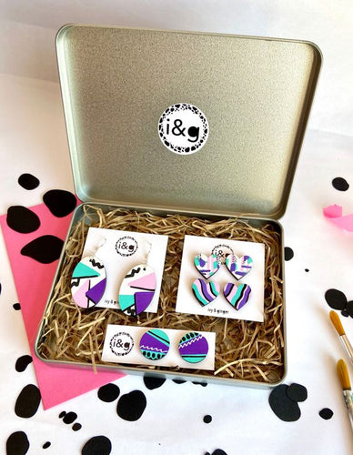 Eco Friendly - Hand Painted Wooden Earrings Gift Set - 80's Collection