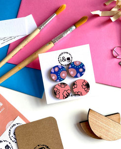 Blue and Pink Hand Painted Flower Stud Wooden Earrings