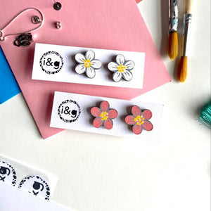 Daisy Flower Stud Set - Hand Painted Wooden Earrings