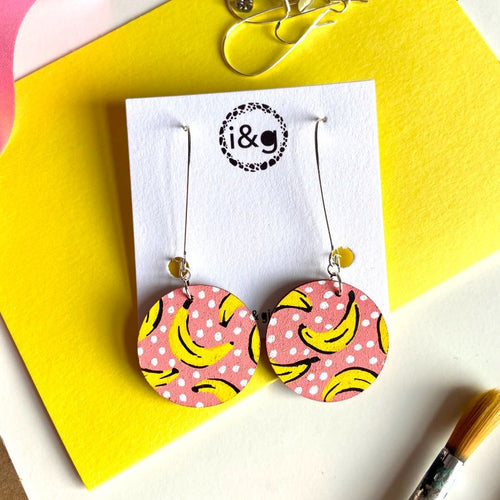 Pink Banana Drop Circle Hand Painted Wooden Earrings