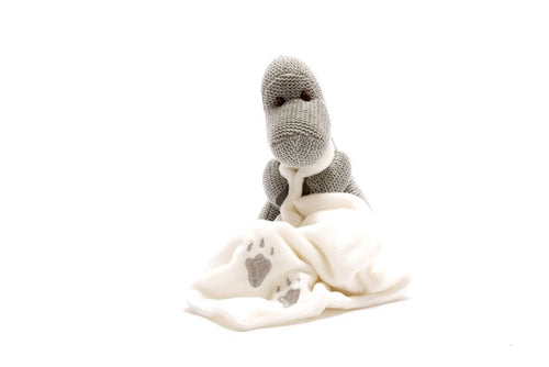 Knitted Grey Dinosaur (Diplodocus) Baby Toy with Comfort Blanket