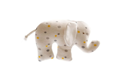 Organic Baby Comforter Elephant with Grey and Yellow polka dots