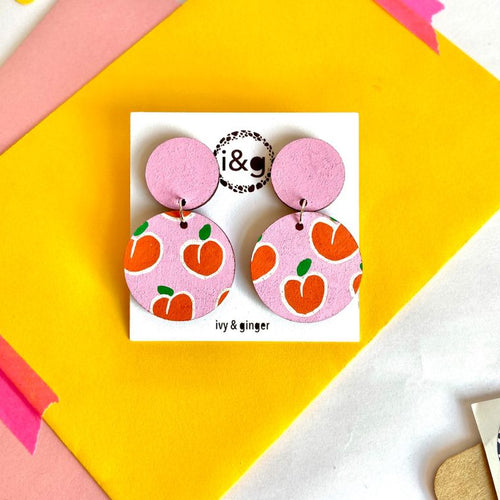 Pink Peaches Drop Circle Hand Painted Wooden Earrings