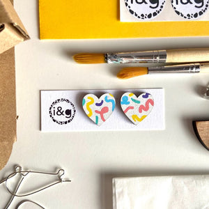 Scribble Hearts Hand Painted Wooden Earrings