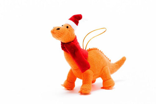 Orange Knitted Dinosaur (Diplodocus) Christmas Tree Decoration