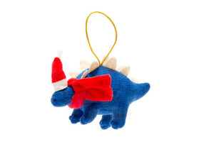 Blue Knitted Dinosaur (Stegosaurus) Christmas Tree Decoration