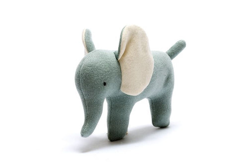 Organic Cotton Knitted Teal Elephant Toy - Small