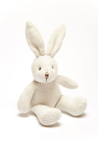 Organic Cotton Knitted White Bunny Baby Rattle