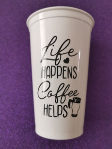 Customisable 'Life Happens Coffee Helps' Mug- various options available