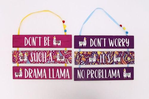 Three Tier Wooden Llama Plaque - Choice of two designs