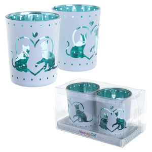Set of 2 I Love my Cat Tealight Holders