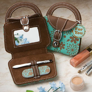 Teal Handbag Design Mini Beauty Kit and Compact
