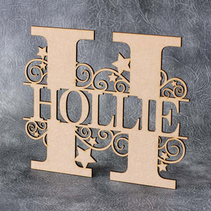 Personalised and Customisable Monogram Letter and Name Plaque/Sign (Swirls and Stars)