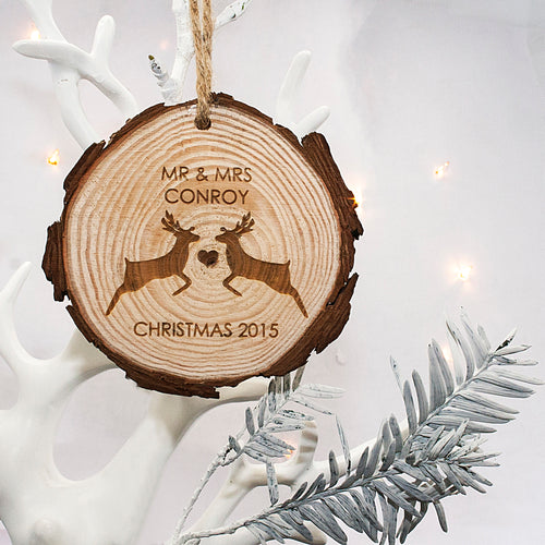 Reindeer Couple Wooden Hanging Christmas Decoration