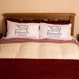 Personalised Mr & Mrs 'Love Story' Pillowcases - Perfect for Valentine's Day, Anniversaries and Weddings