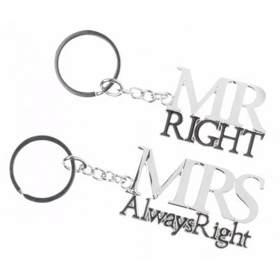 'Mr Right & Mrs Always Right' Dual Keyring Set