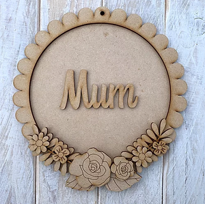 Customisable Wooden Floral Round Plaque - Ideal gift for Mother's Day