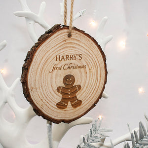 Gingerbread Man - 'First Christmas' Wooden Hanging Decoration