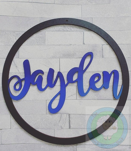 Personalised and Customisable Wooden Circle Name Decoration