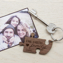 Personalised 'Our Family' Heart Wooden (Walnut) Jigsaw Keyring(s)
