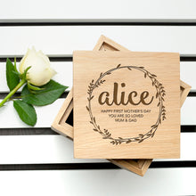 Personalised Wreath Wooden (Oak) Photo Keepsake Box