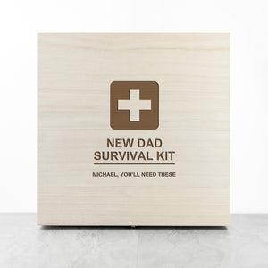 Personalised Emergency 'New Dad Survival Kit' Wooden Storage Box