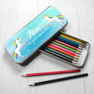 Personalised Rainbow Unicorn Pencil Tin