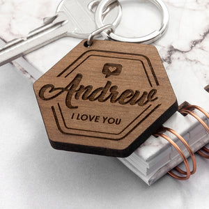 Personalised 'I Love You' Hexagonal Wooden Engraved Keyring