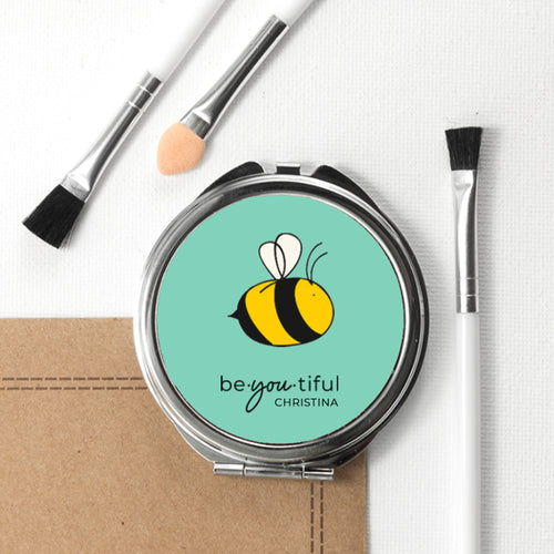 Personalised Bee You Round (Metal) Compact Mirror (White or Green)
