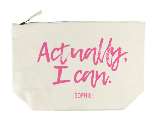 Personalised 'Actually I Can' Cream Makeup/Wash Bag - Two Styles Available