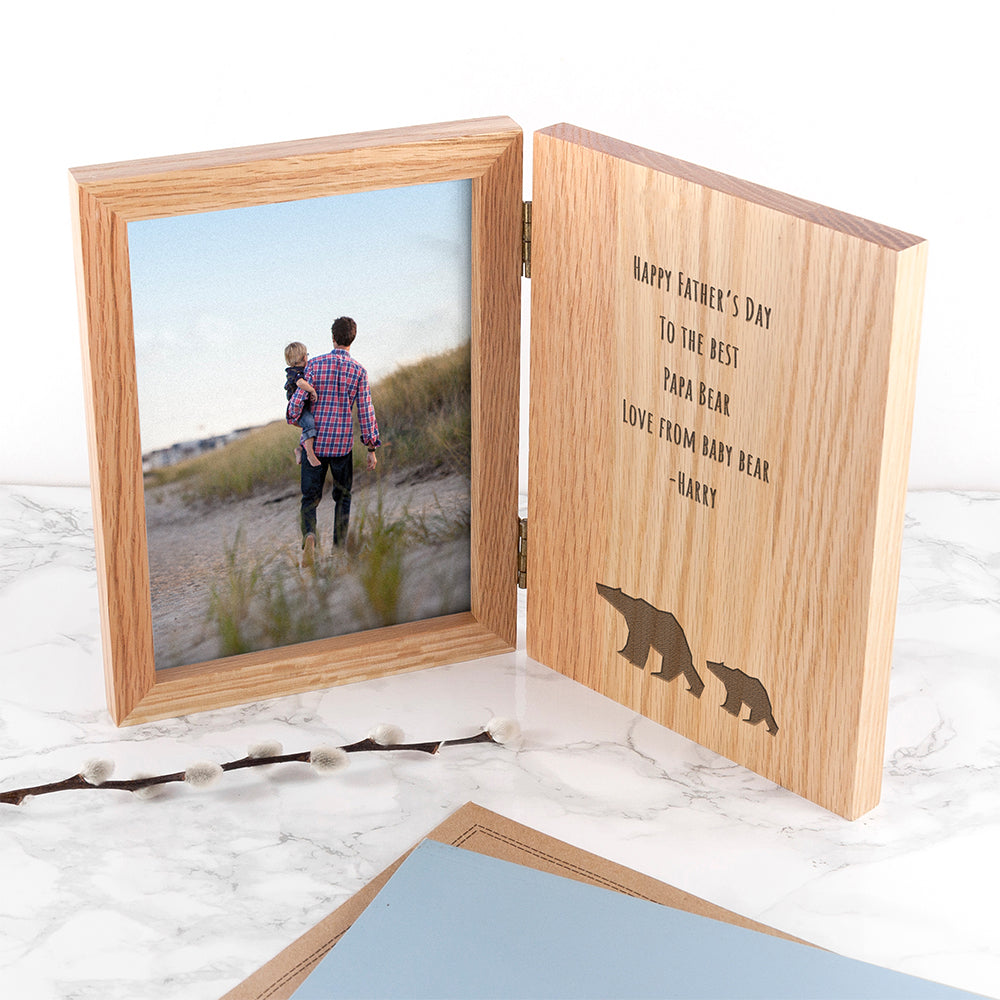 Personalised Engraved 'Happy Father's Day' (Bear) Book Style Photo Frame