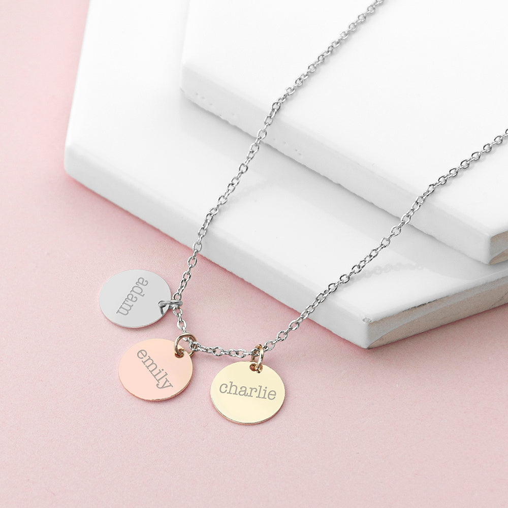 Personalised 3 Discs Necklace (perfect for family names)