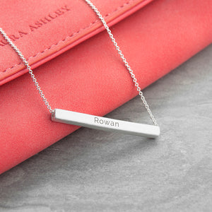 Personalised Horizontal Bar Necklace - Available in Gold or Silver Colour